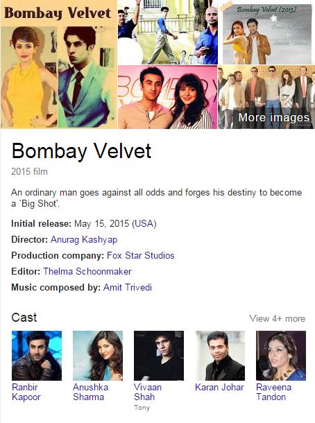 movie bombay velvet star cast