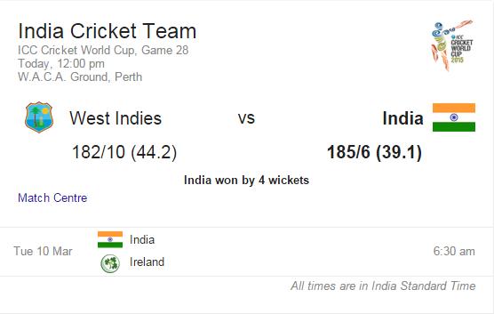 india vs west indies score card