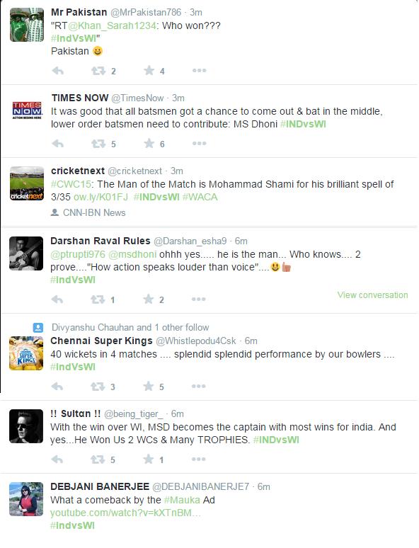 tweets over india win