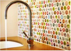 bottle caps on the wall