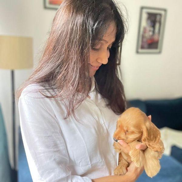 Sunita Gowariker with her pet dog